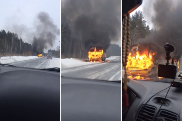 В автобусе загорелся двигатель