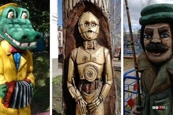 Из дерева вырезают самых разнообразных персонажей
