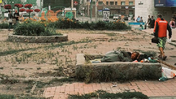 «Где дороги?»: прямо на Красном проспекте обнаружен заброшенный сквер с бомжами