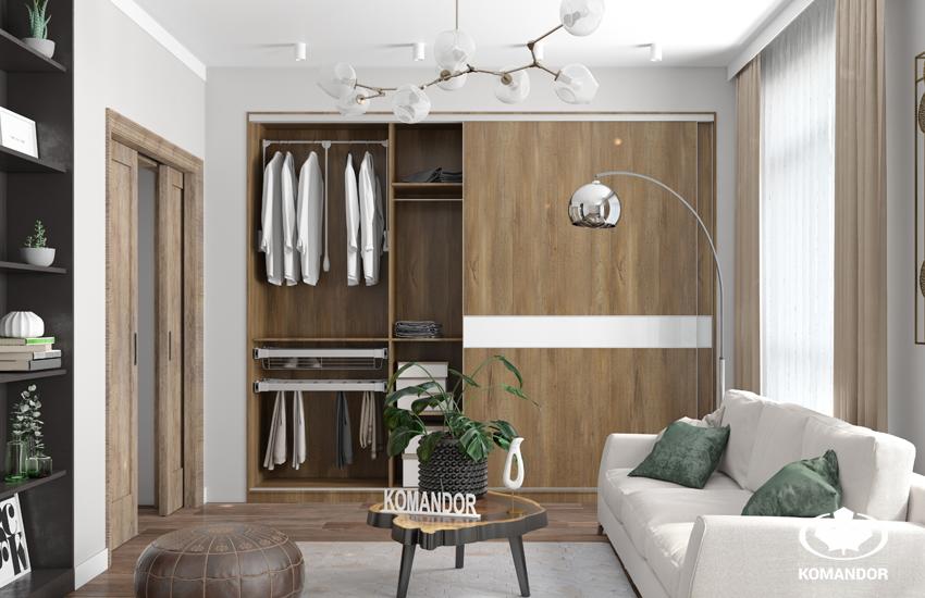 Гостиная в современном стиле со встроенным шкафом-купе
