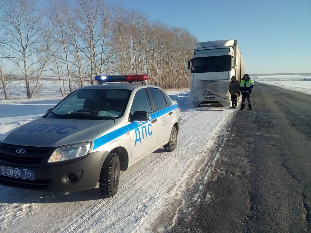 Грузовик с лошадьми сломался на трассе в Ордынском районе