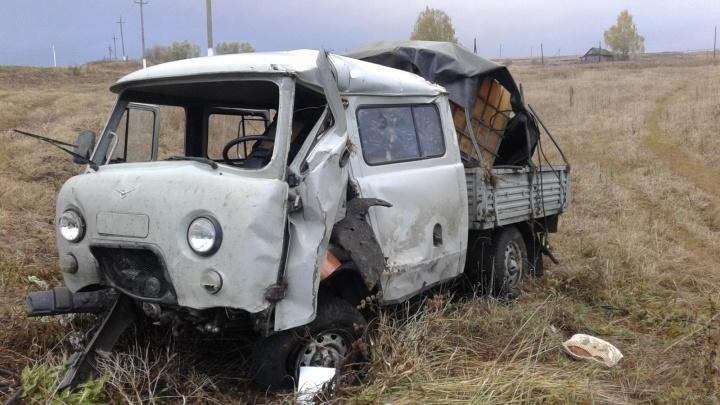 В Самарской областиводитель «УАЗ-Фермер» въехал в знак на встречке и улетел в кювет