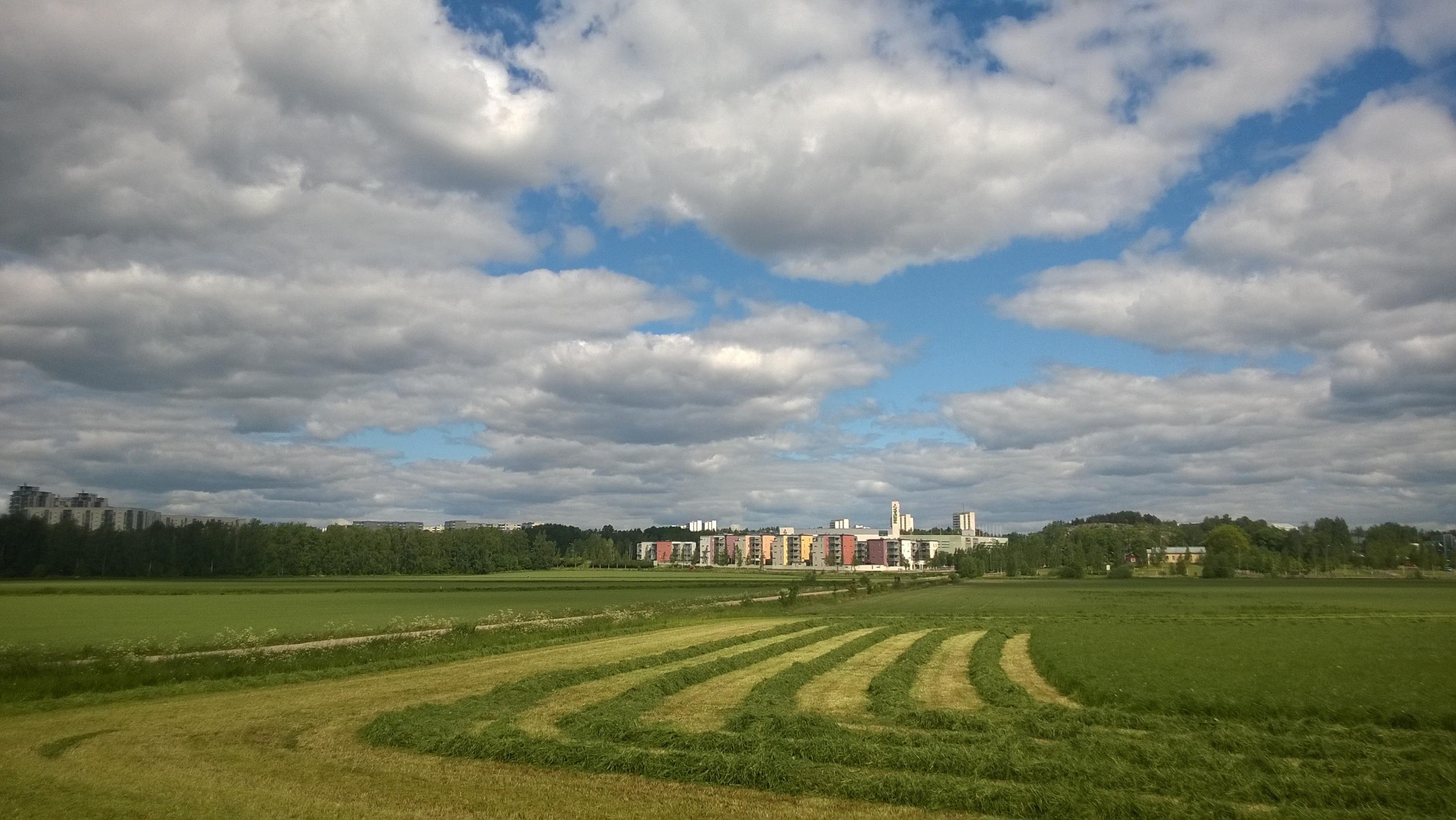 Район Биоцентра Виикки, на полях выращивают экспериментальные культуры