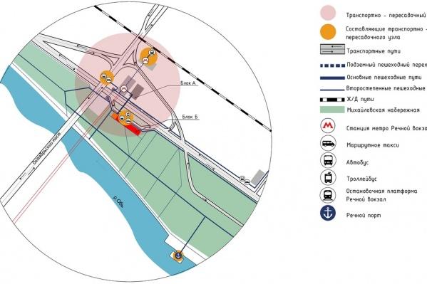 Схема обновлённого транспортного узла на «Речном»
