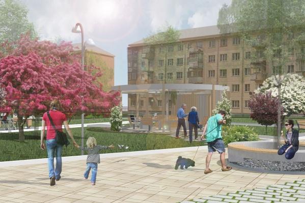 Сквер будет приспособлен для прогулок людей со слабым зрением