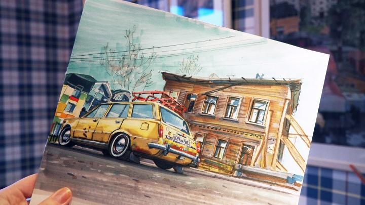 Цирк, «аварийка» и дом Сутягина: смотрим залипательные видео, как рисуют Архангельск прошлых лет