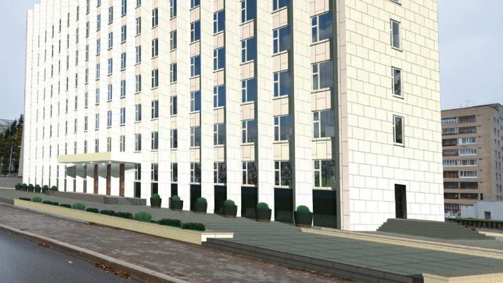 Мозаичный бетон и партитуния: территория у облсобрания похорошеет за 15,7 млн рублей