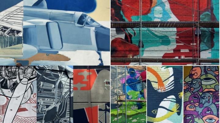 На стенах новосибирского вуза нарисовали самолёты и портреты студентов