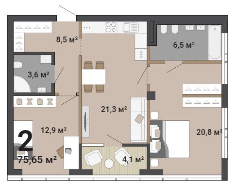 Такая планировка подойдет молодой семье — мастер-спальня и детская разделены кухней-гостиной