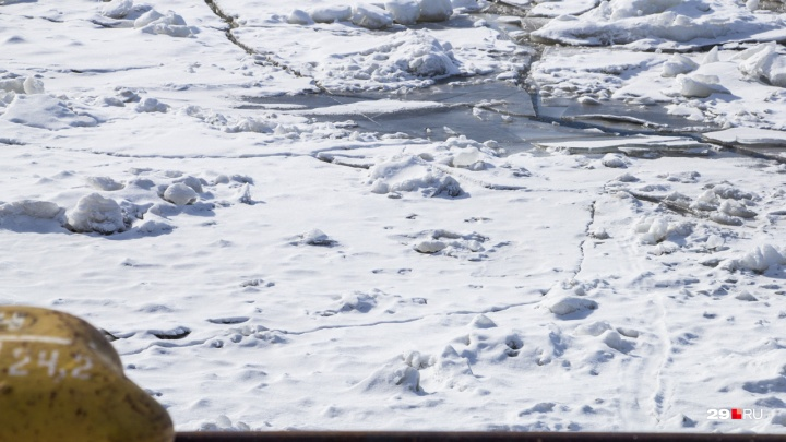 В Архангельске спасли девушку, плывшую на льдине по Северной Двине