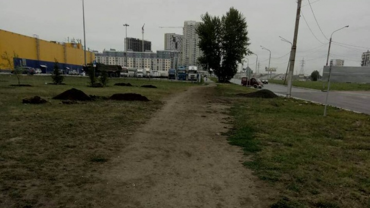 Красноярцы удивлены отсутствию тротуара на оживленном переходе от «Ленты» до «Планеты»