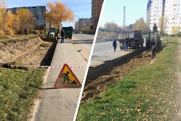 Сегодня второй раз остановили строительство парковки возле двух детских садов