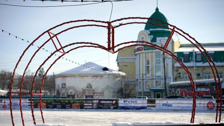 Ко Дню всех влюблённых на двух омских катках поставили трёхметровые «романтические объекты»