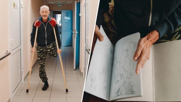История бездомного художника. Как бывший летчик потерял дом и лишился ноги, но не сдался