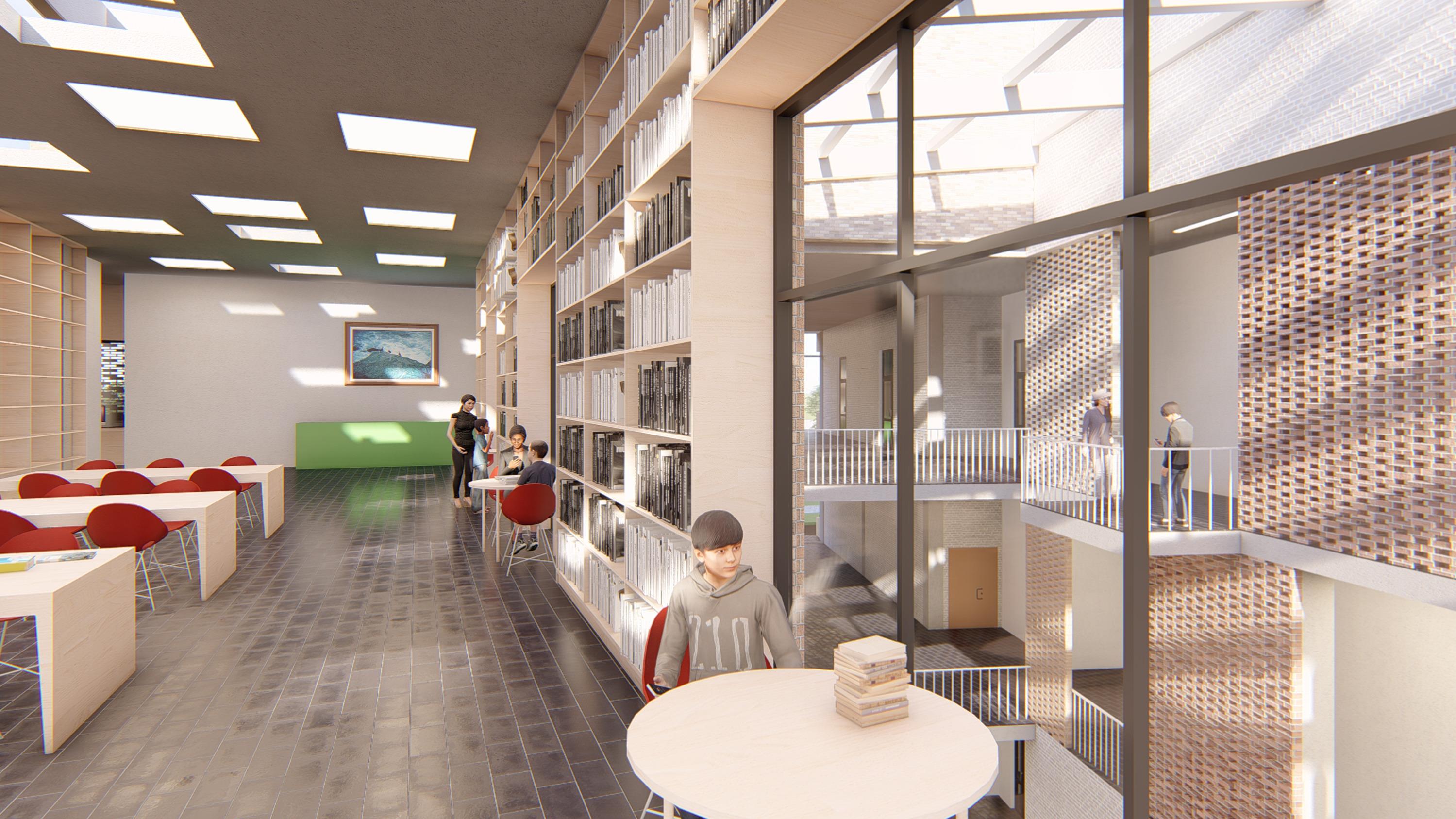 Интерьер библиотеки с видом на атриумное пространство