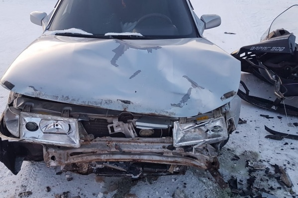 Водителя снегохода и его сына увезли в больницу
