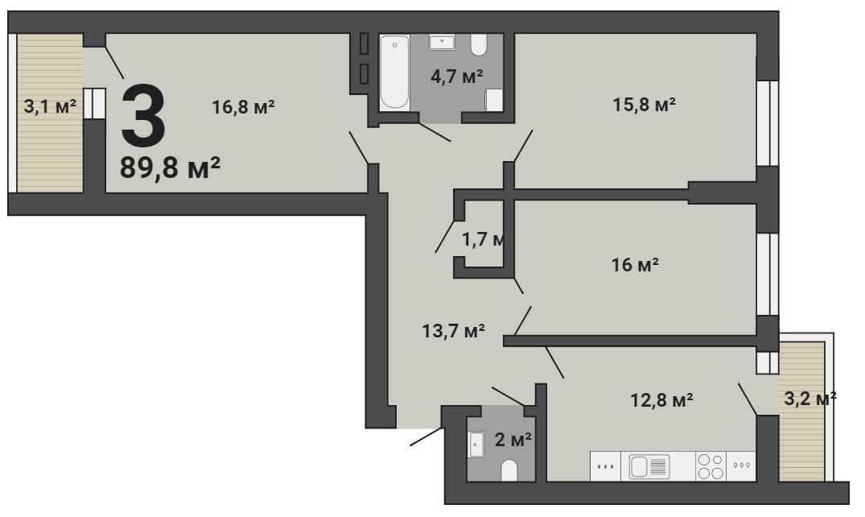 В классической трехкомнатной квартире будет удобно любой семье