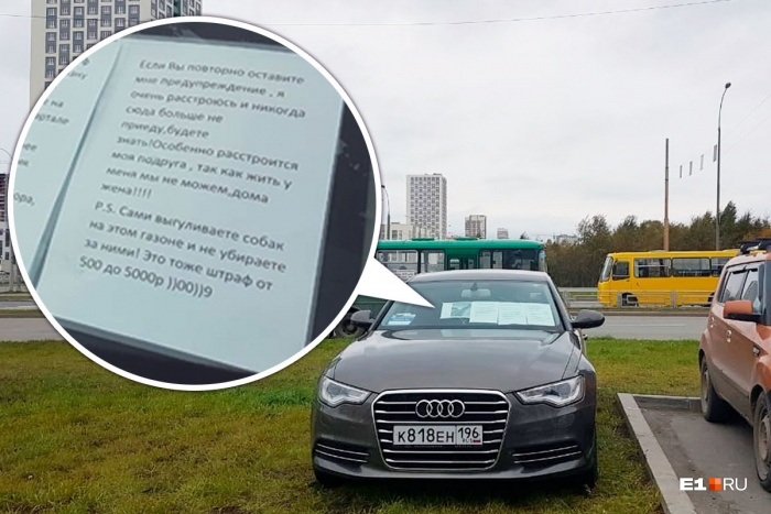 Водитель Audi решил отстоять свое право на газонную парковку