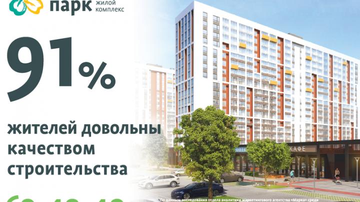 91 % жителей ЖК «Клевер парк» довольны качеством строительства