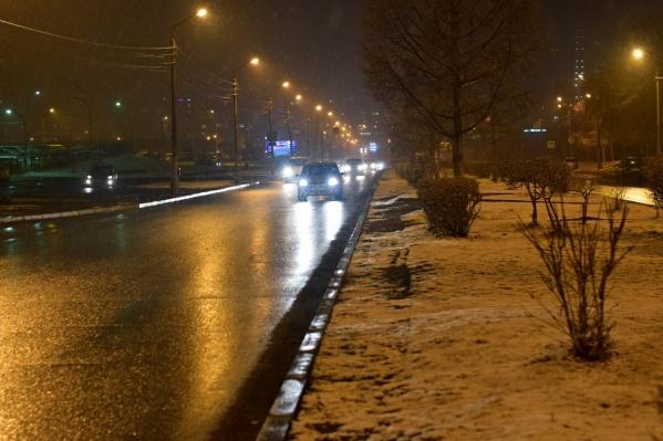 Вечерний снег в «Солнечном», который уже растаял