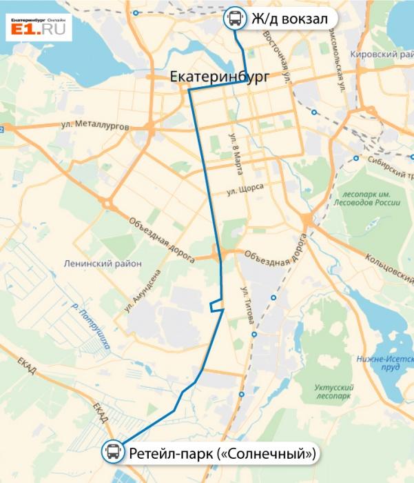 Карта маршрута №53, который связал новый район с центром города