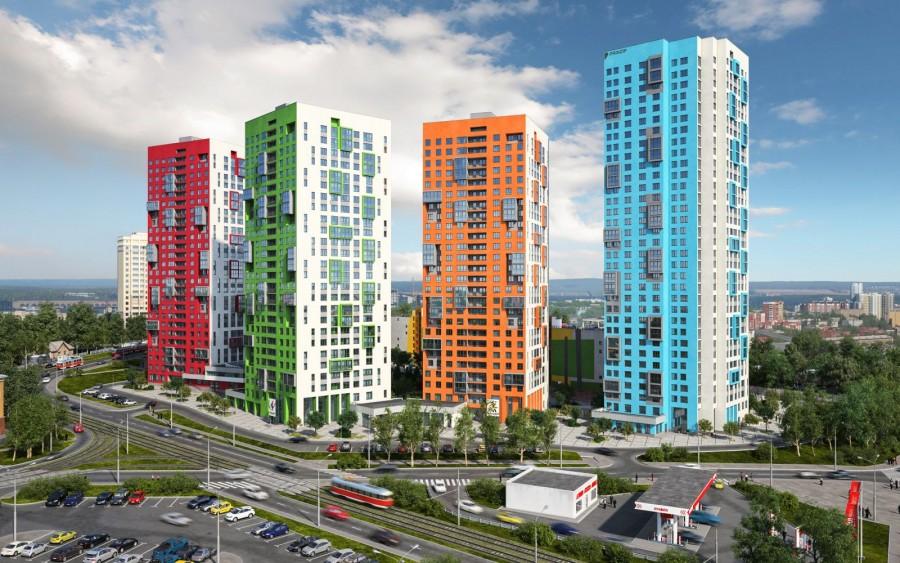 В синем доме осталось около 50 квартир. В оранжевом — 4, в зеленом — 2. Красный и желтый дома распроданы полностью<br>