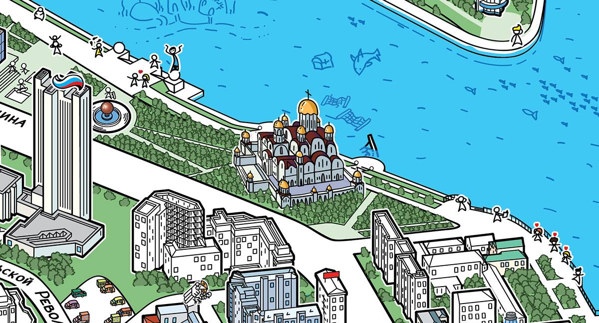 Рекламщики пофантазировали, как храм Святой Екатерины вписался бы в места в центре Екатеринбурга