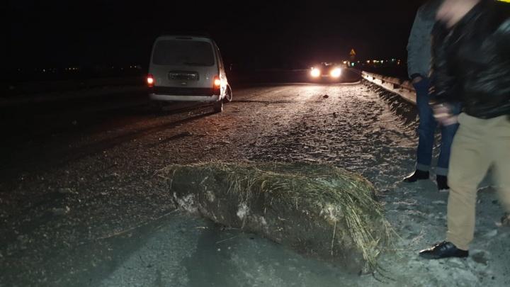 У машины оторвало колесо: на ЕКАД легковушка врезалась в бетонный блок, лежащий посреди дороги