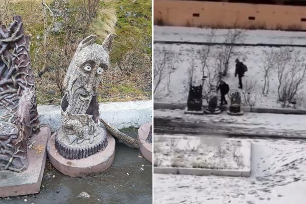 К утру скульптура оказалась разбита, ее судьбу прояснила запись с камеры