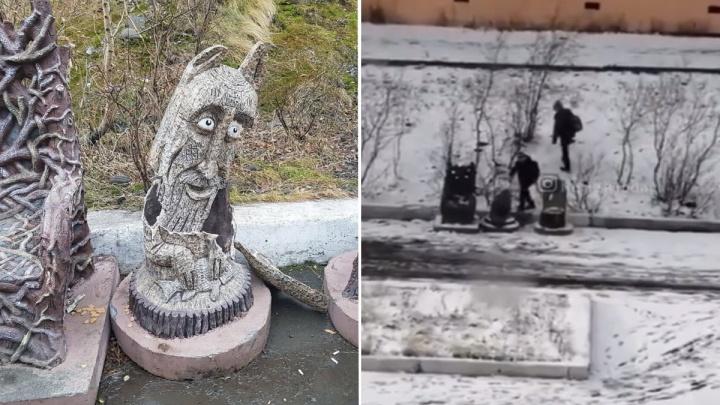 В Норильске подросток разбил скульптуру во дворе дома и попал на видео