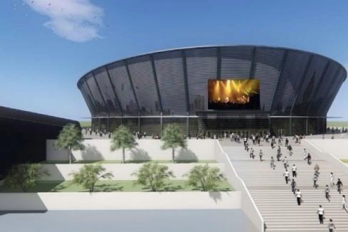 Эскиз ледовой арены на левом берегу Оби, предложенный компанией «Парк чемпионов»