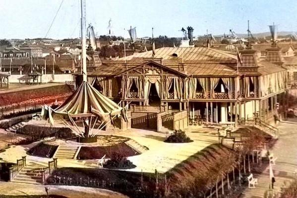 Ресторан и карусель на выставке 1887 года