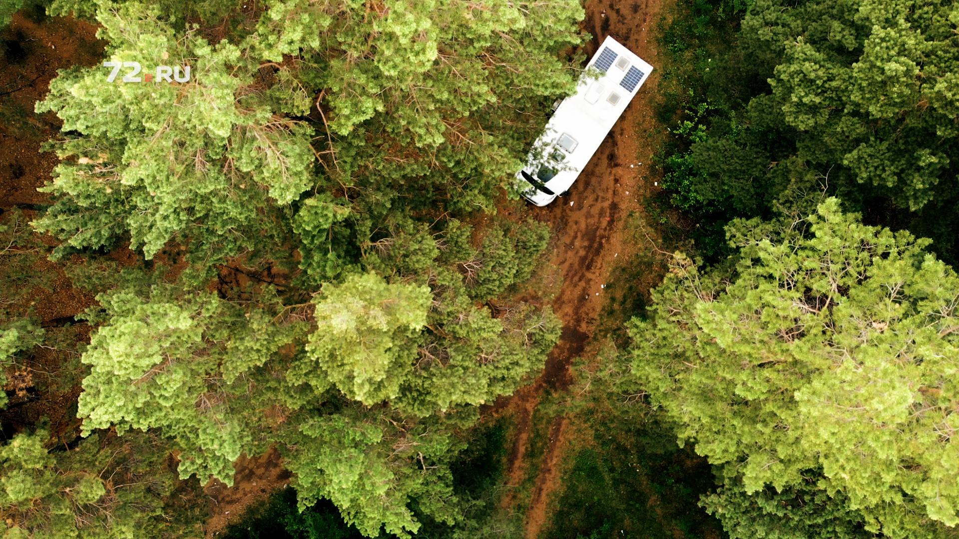 А тут фургончик колесит по тюменским лесам