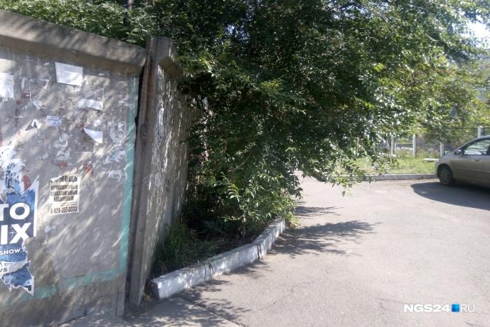 Подпорная стена в человеческий рост, часть которой опасно накренилась над дорожкой