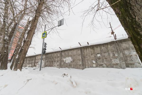 Светофор со знаком пешеходного перехода появился не так давно у забора на Чернышевского