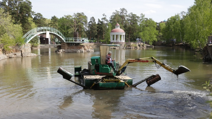 «Вылавливаем даже урны»: в челябинском парке впервые за 18 лет начали чистить карьер