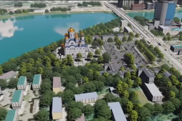 Примерно так, если решат жители Екатеринбурга, храм будет выглядеть рядом с Макаровским мостом