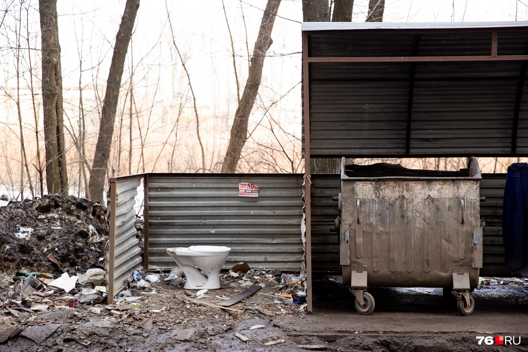 В баках пусто, а рядом валяется куча мусора