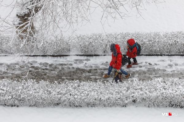 В Волгограде снегопад накрыл город в ночь со среды на четверг
