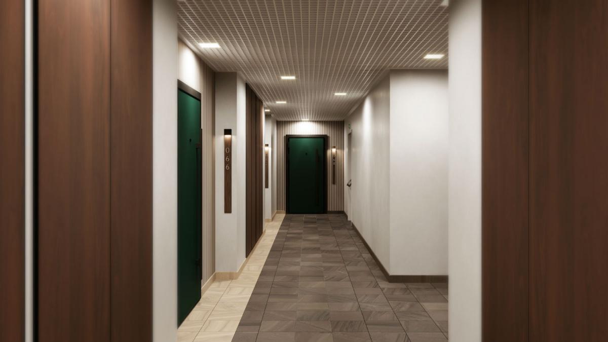 На жилых этажах пол выполнен в керамограните, стены гладко окрашены