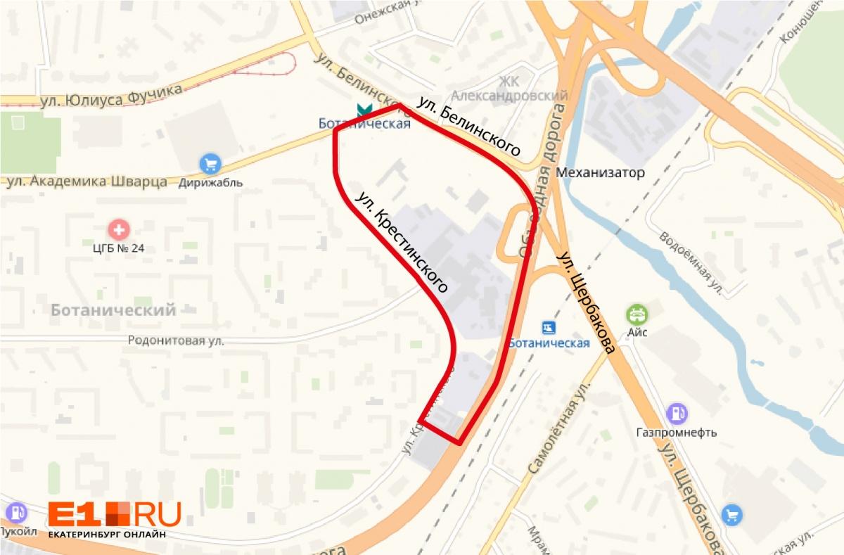 Красным отмечена территория проектируемоготоргово-транспортного пересадочного узла