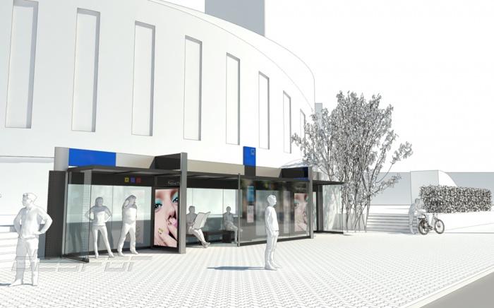 Проект новой остановки с цветовым брендированием на площади Маркса