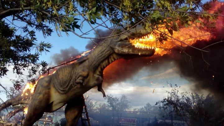 В Башкирии в детском парке дотла сгорел динозавр