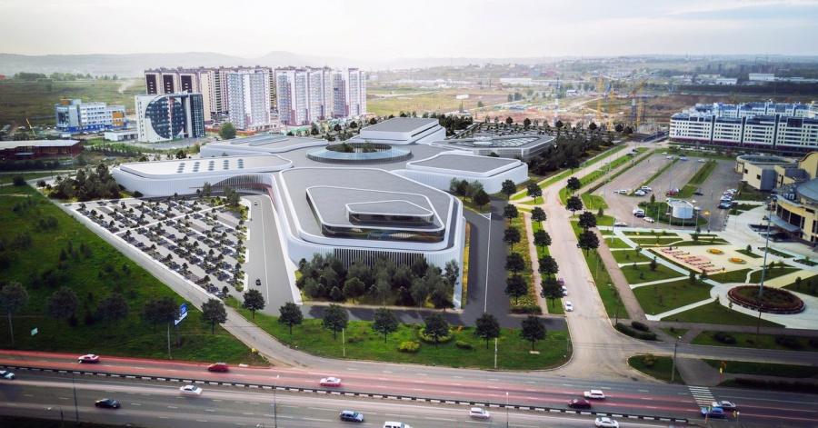 Аквапарк состеклянным торговым центром выбрали для Красноярска специалисты (эскизы)