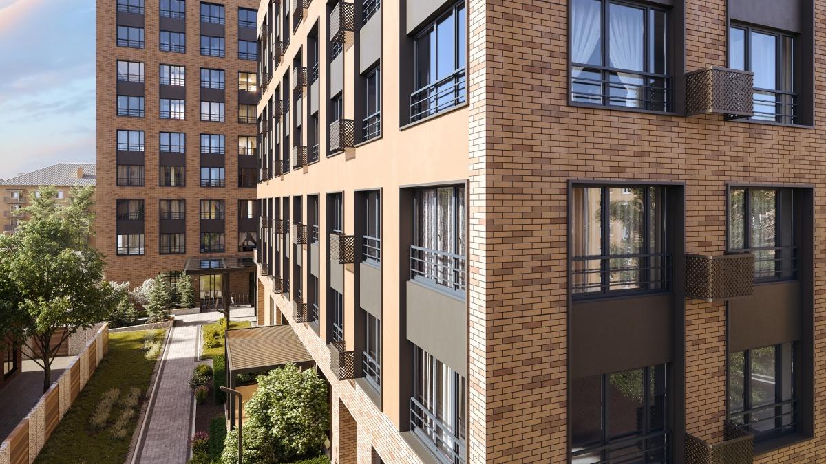 Фасады дома на Первомайской, 60 приобретут узнаваемые элементы голландской архитектуры. Наружная отделка — клинкерный кирпич, витражи без тонировки, крупные алюминиевые конструкции