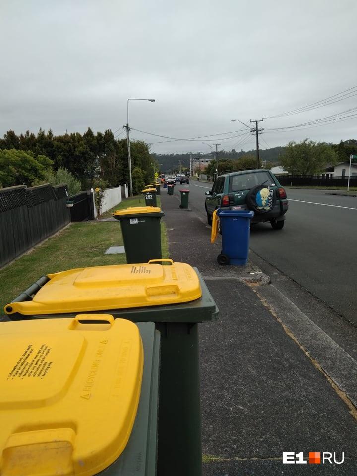 Контейнеры выкатывают на тротуар, и весь мусор из них увозят до обеда
