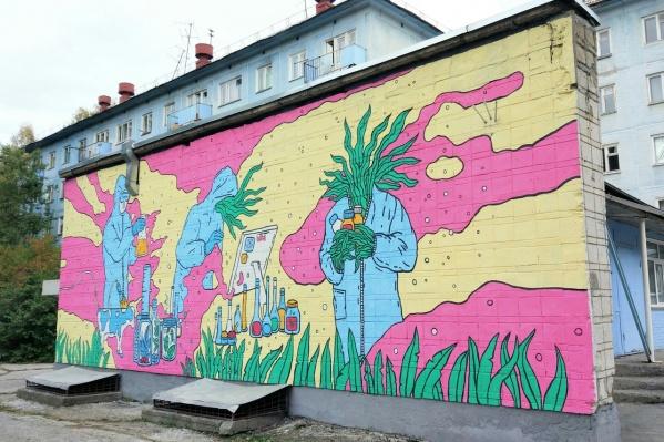 Цвет костюмов учёных перекликается с окраской общежития