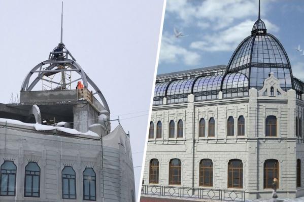 По проекту стеклянный купол дополнят коридорами на крыше из аналогичного материала