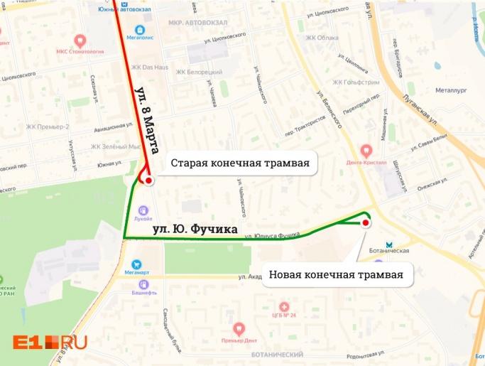 Схема, по которой будет курсировать трамвай №4