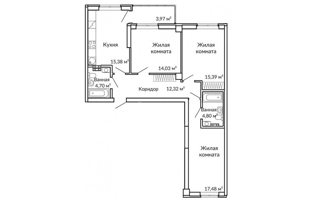 Комнаты в просторных трёшках (их осталось всего 5) выдерживают «золотую» геометрию — по форме они близки к квадрату. Это позволяет без труда вписать в них любой интерьер